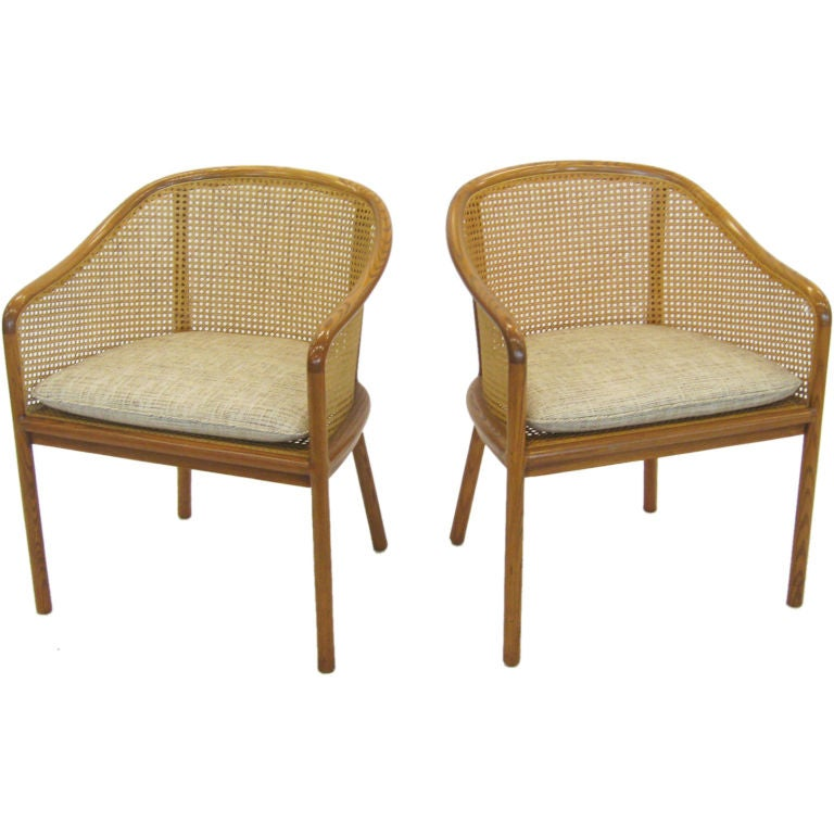 Ward Bennett cane back armchairs by Brickel at 1stdibs