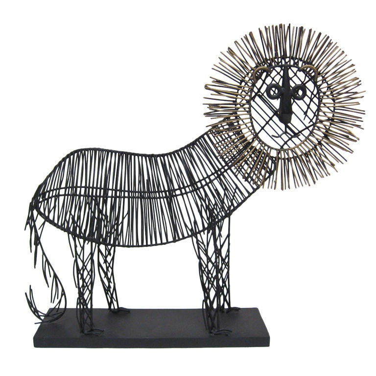 Jere wire lion sculpture at 1stdibs