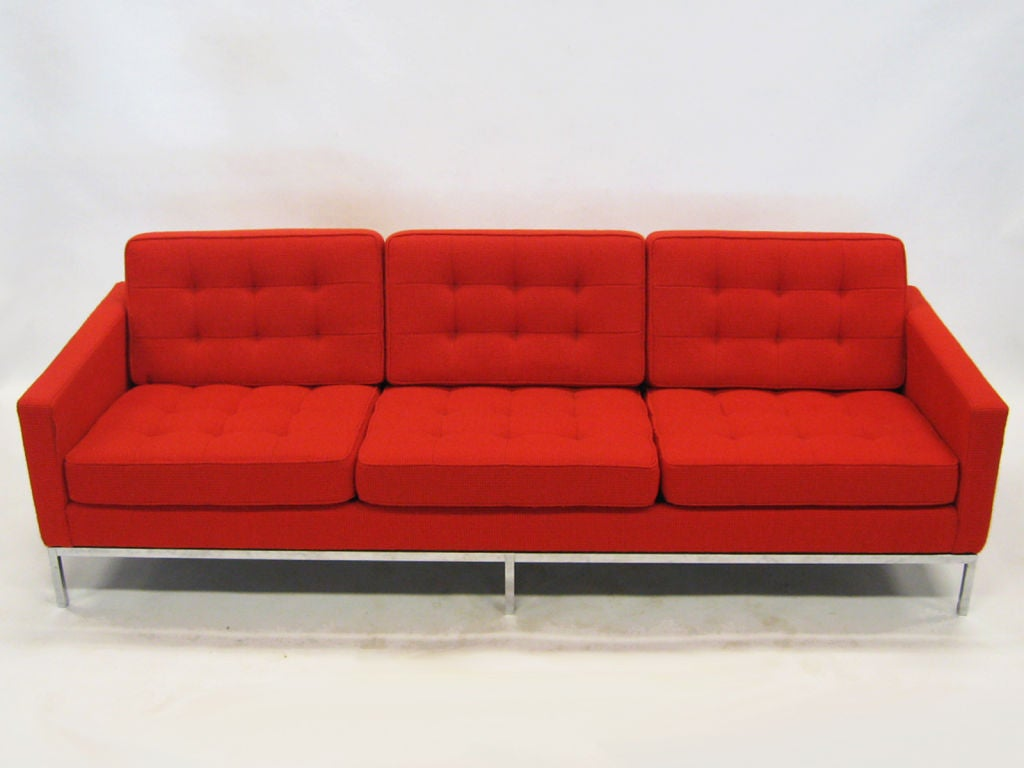 early florence knoll 3 seat sofa in red cato fabric at 1stdibs. Black Bedroom Furniture Sets. Home Design Ideas