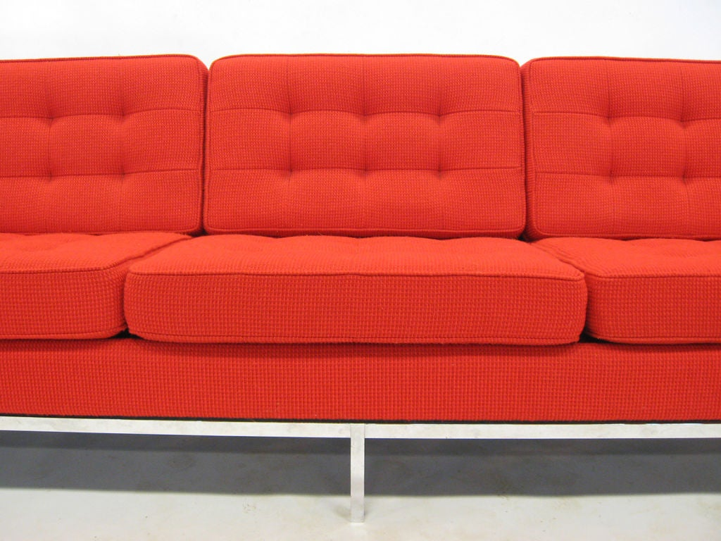 Steel Early Florence Knoll 3 seat sofa in red Cato fabric