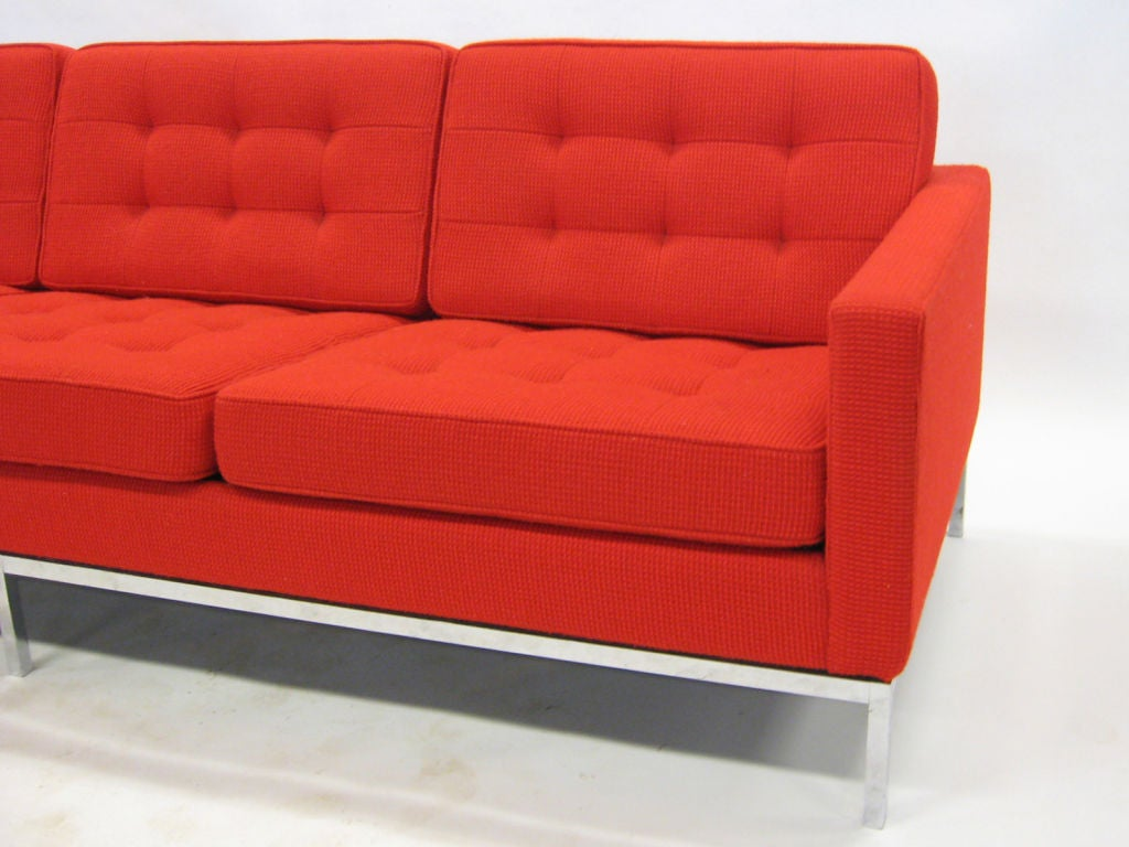 Early Florence Knoll 3 seat sofa in red Cato fabric 1