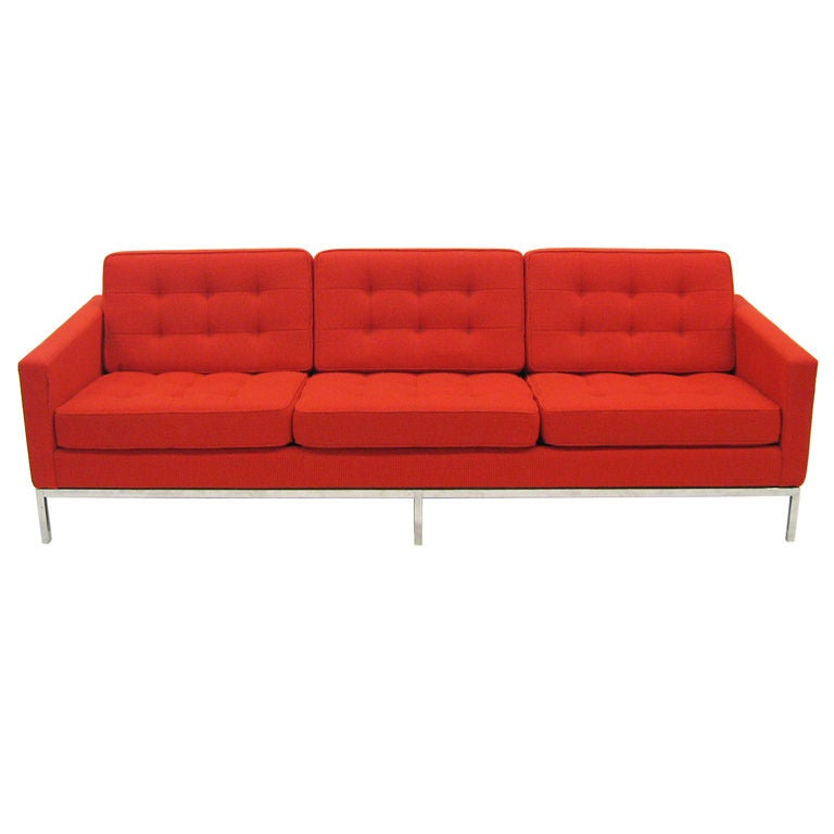 Early Florence Knoll 3 seat sofa in red Cato fabric