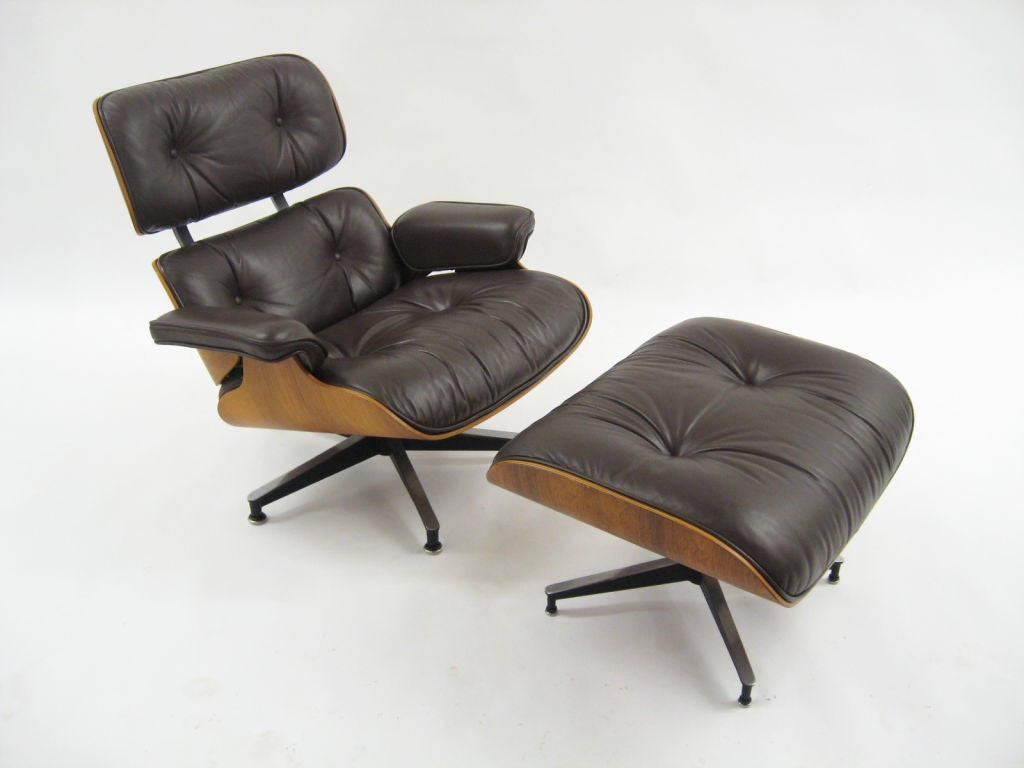 Eames Rosewood And Brown Leather Lounge And Ottoman By