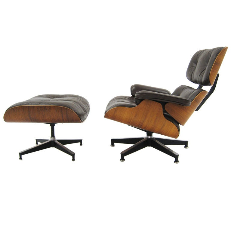 Eames rosewood & brown leather lounge & ottoman by Herman Miller 1