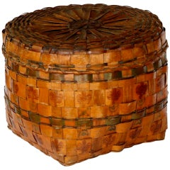 N.E. Indian Woodlands Basket with Potato Stamping