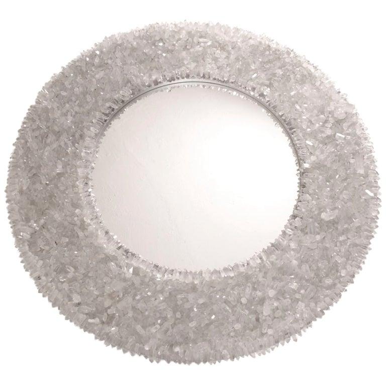 Round Rock Crystal Mirror At 1stdibs