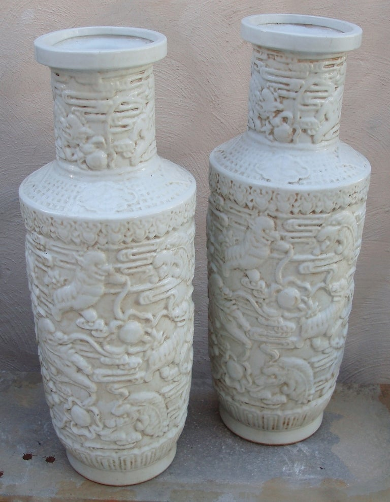 very chic pair of blanc de chine vases at 1stdibs. Black Bedroom Furniture Sets. Home Design Ideas