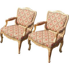 Set of Four (4) Regence Style Giltwood Fauteuils