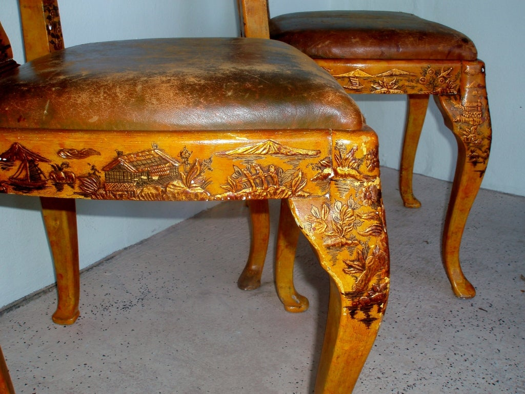 Lacquered Pair of Japanned Side Chairs For Sale