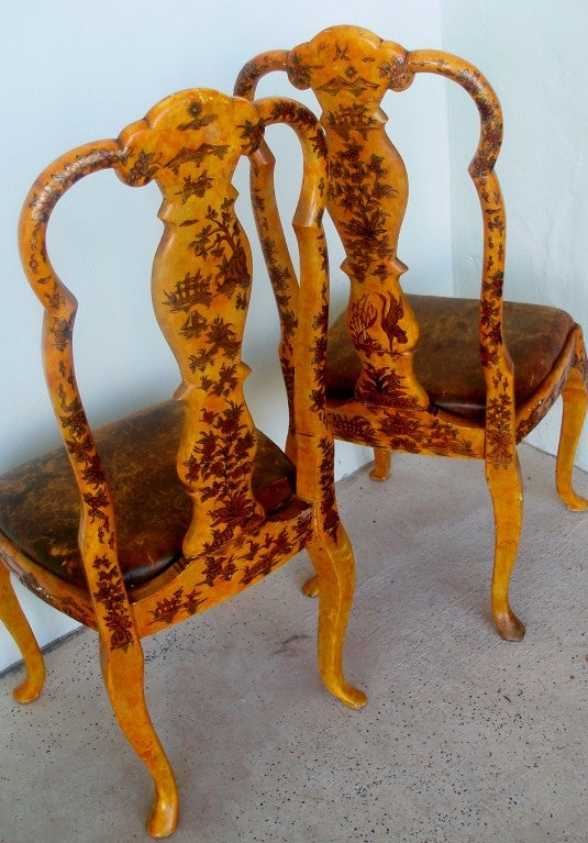 Pair of Japanned Side Chairs In Good Condition For Sale In Palm Beach, FL