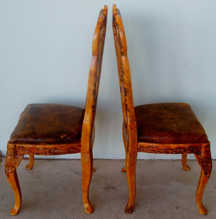 19th Century Pair of Japanned Side Chairs For Sale