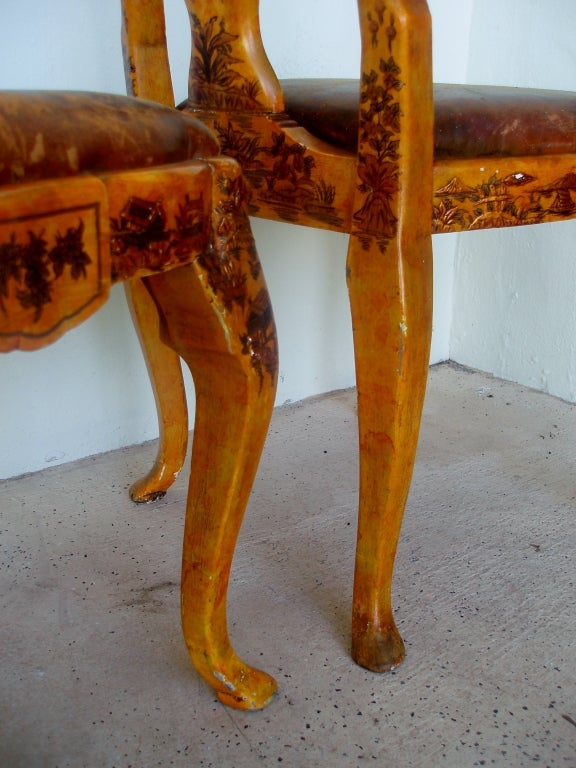 Wood Pair of Japanned Side Chairs For Sale