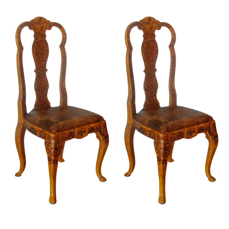 Pair of Japanned Side Chairs For Sale