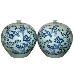 Pair of Celadon and Blue Chinese Export Lidded Melon Jars