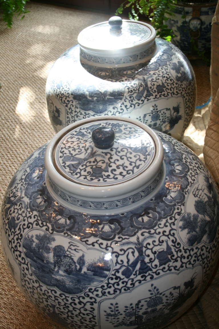 Large Lidded Blue And White Pair Of Chinese Export Fish