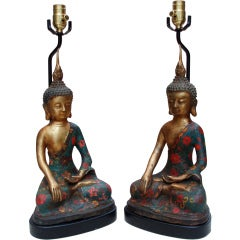 Elegant Pair of Bronze Buddha Lamps