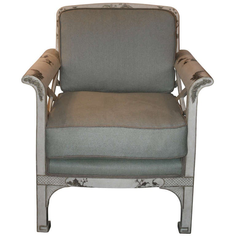 asian chippendale style club chair at 1stdibs. Black Bedroom Furniture Sets. Home Design Ideas