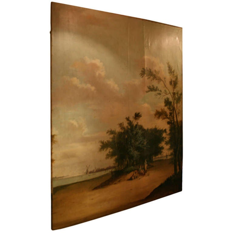 Very Large Landscape Oil Painting on Canvas from the 19th Century