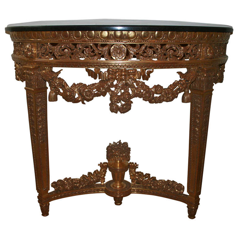 Louis XVI Style Demilune Console