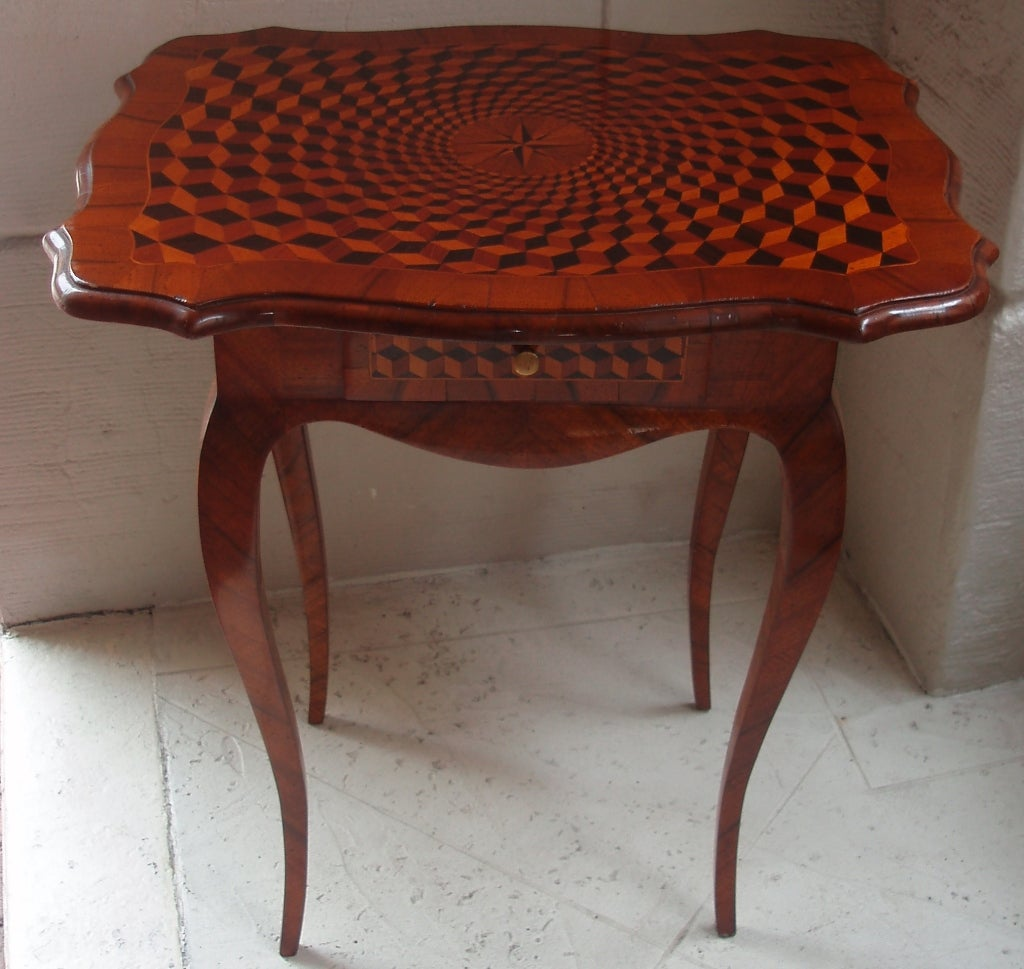 Light Walnut Wood Caleb Accent Table: Fine Louis V Marquetry End Table For Sale At 1stdibs