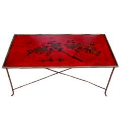 Decorative Red Japanned Cocktail Table