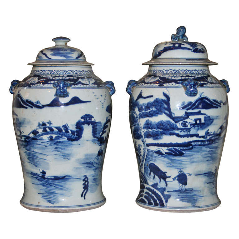 Pair of Blue and White Matched Chinese Export Lidded Jars