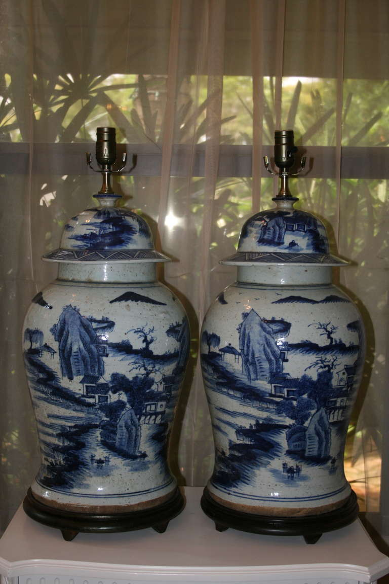 Handsome Pair Of Large Blue And White Chinese Lidded