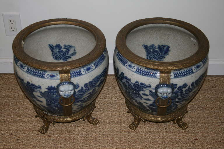 Pair Of Blue And White Chinese Fish Bowls With Moulded