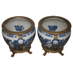 Pair of Blue and White Chinese Export Fish Bowls with Bronze Mounts