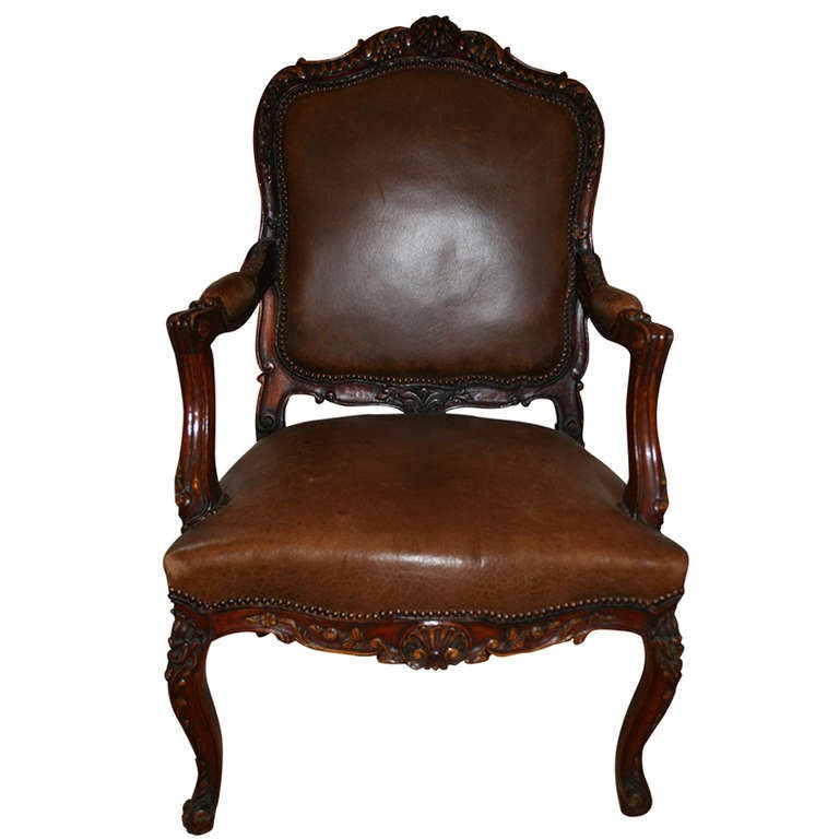 Fauteuil In Louis Xv Style French Brown Leather Chair At 1stdibs