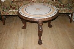 Oak Monopodia Lion Tripod Table with Marble Top