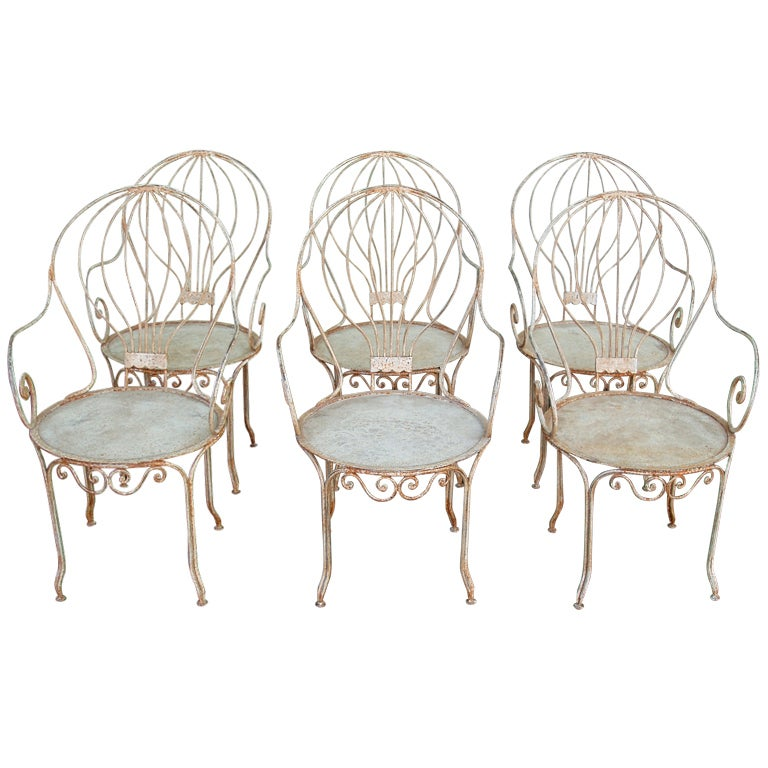 Set of six french wrought iron garden fauteuils at 1stdibs French metal garden furniture