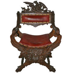 18th Century Hand-Carved Oak Fauteuil