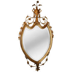 George III Style Giltwood Shield Form Mirror