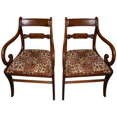 Pair of Period Regency Mahogany Armchairs