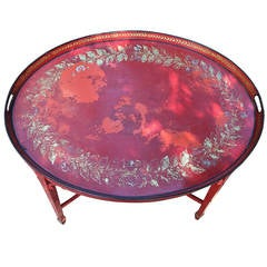 Empire Oval Red Tole Tray Table with Parcel Gilt