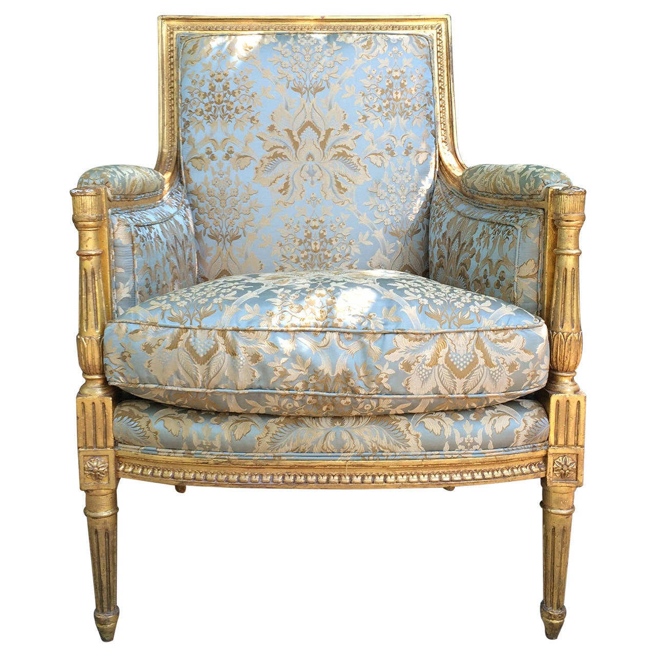 louis xvi style carved giltwood bergere for sale at 1stdibs. Black Bedroom Furniture Sets. Home Design Ideas