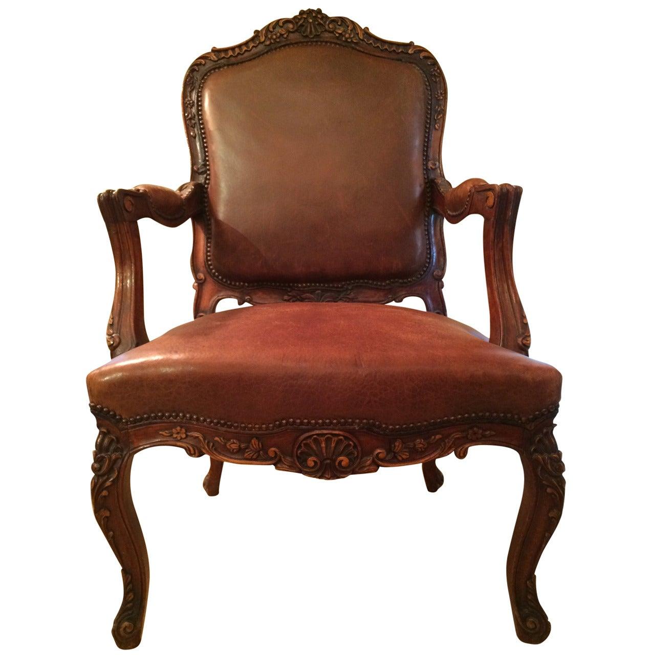 Louis XV Style Walnut Fauteuil