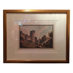 """A Study of the Ruins of a Castle"" Watercolor by John Claude Nattes"