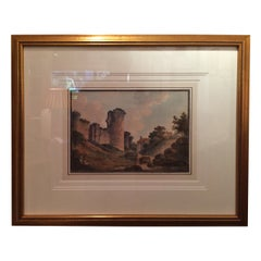 """""""A Study of the Ruins of a Castle"""" Watercolor by John Claude Nattes"""