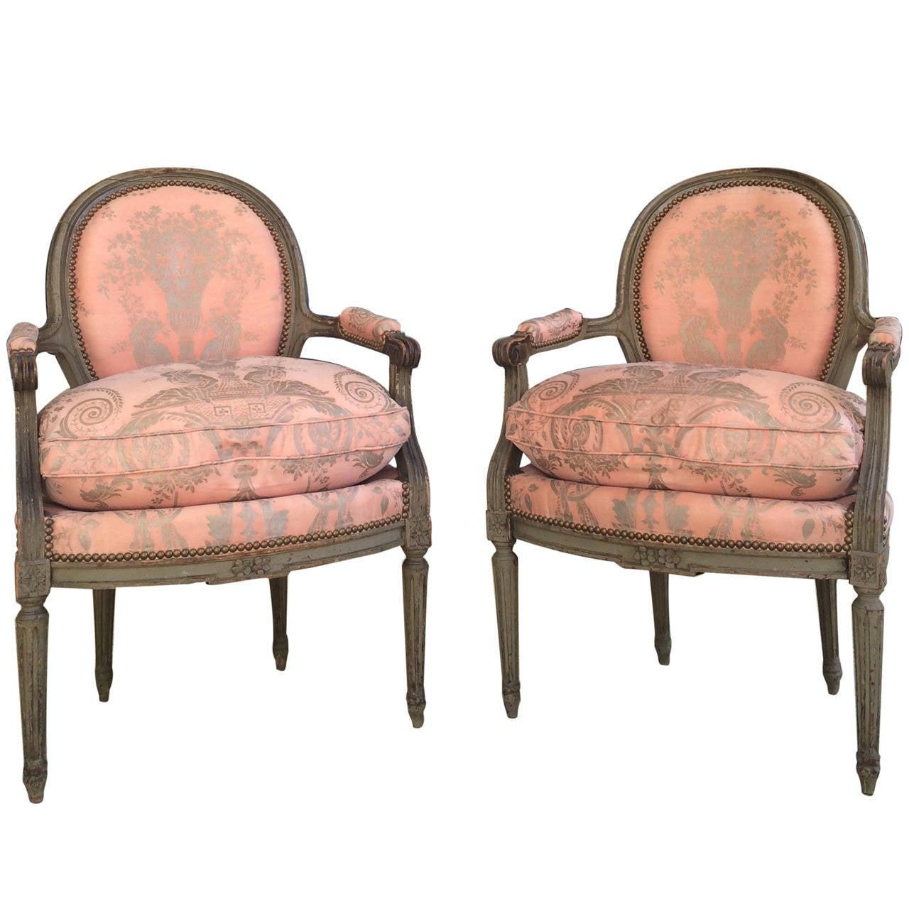 Beautiful Pair of Painted Louis XVI Fauteuils