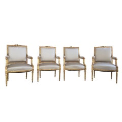 Set of Four Louis XVI Style Giltwood Fauteuils