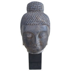 Early 18th Century Carved and Etched Chinese Limestone Head of Buddha