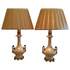 Exquisite Pair of Opalescent Paris Porcelain Vases Converted into Lamps