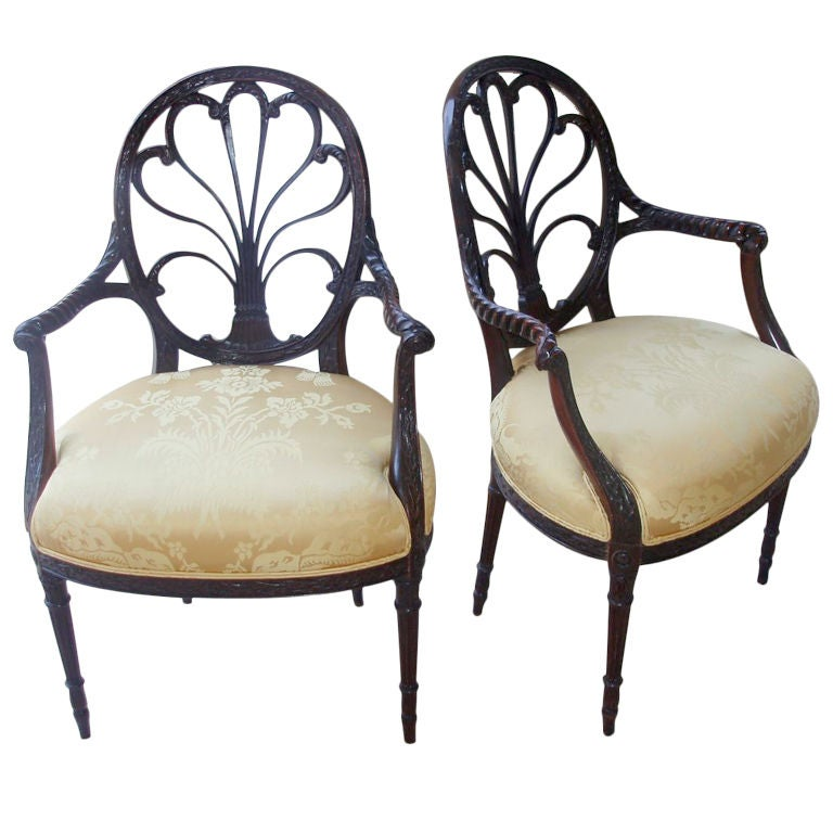 Pair of Spider Back Mahogany Arm Chairs 2