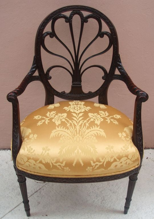 Pair of Spider Back Mahogany Arm Chairs image 3
