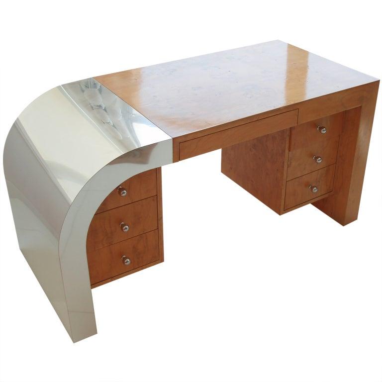 Chrome Veneer Burl Wood Writing Desk At 1stdibs