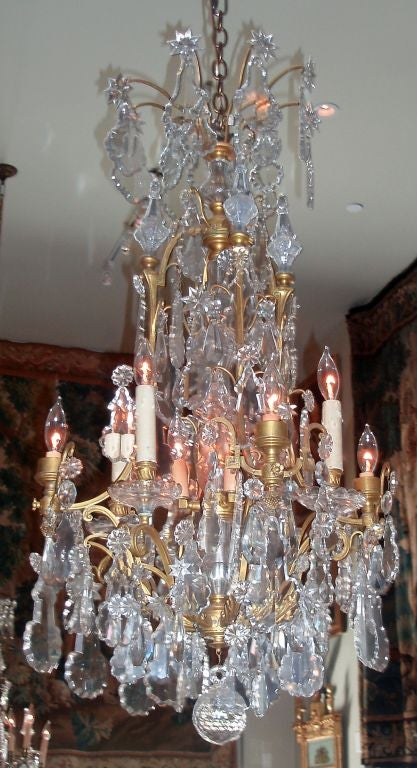 French Louis XV Style Bronze Doré and Crystal Chandelier For Sale