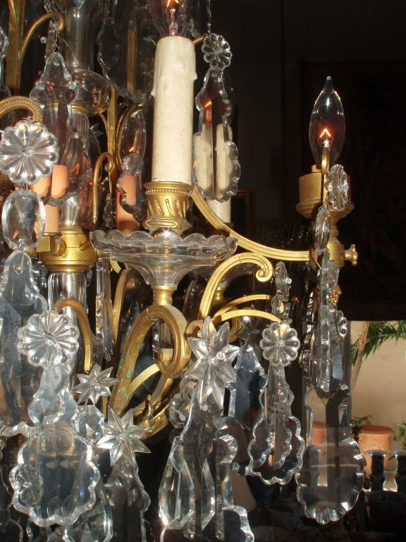 Louis XV Style Bronze Doré and Crystal Chandelier In Good Condition For Sale In Palm Beach, FL