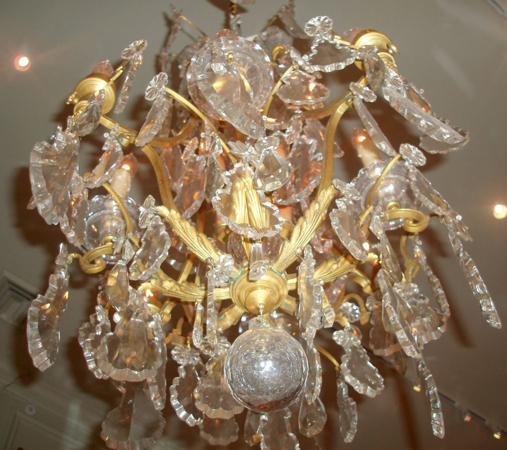 Louis XV Style Bronze Doré and Crystal Chandelier For Sale 3